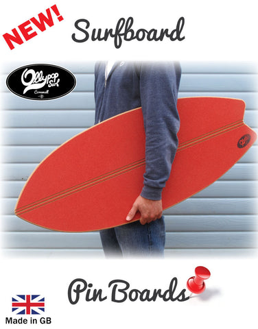 Surfboard Pin Board  - Red Cork
