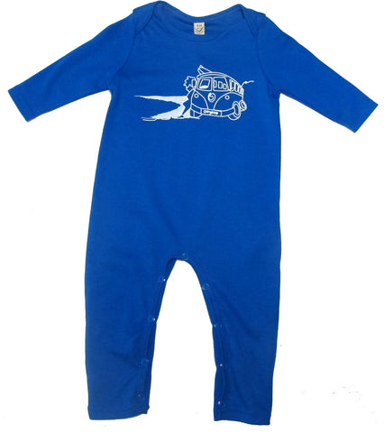 Baby Organic Jumpsuit Bright Blue - Ollypop Camper Print