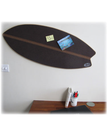 Surfboard Pin Board  -  Black/Charcoal Cork