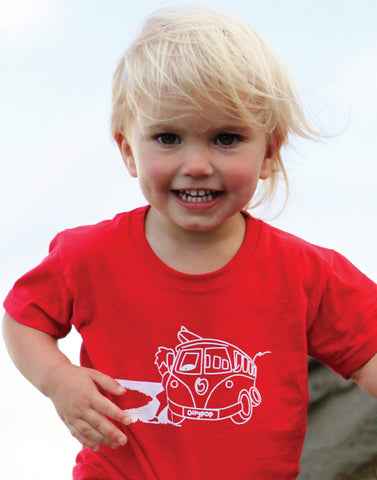 Baby-Toddler Surf Short Sleeve T-Shirt Ollypop (Red) Camper Van Print