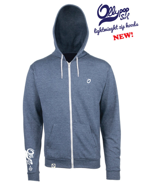 Navy Unisex Lightweight Heather Zip Hoody