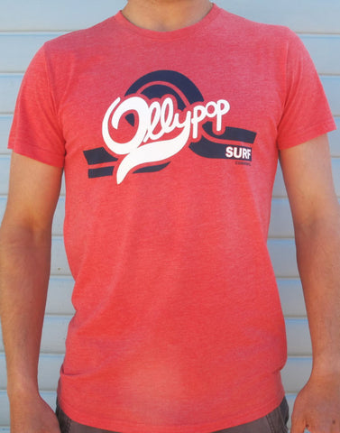 Mens Red Marl Retro T - Ollypop