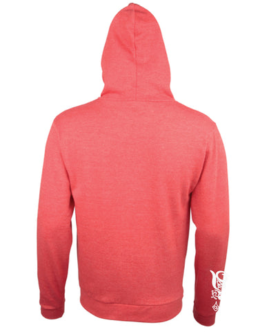 Red Unisex Lightweight Heather Zip Hoody