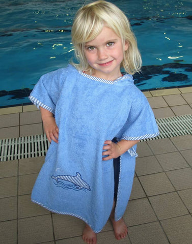 Ollypop Surf Kids Terry Towel Poncho - Dolphin Applique - Unisex