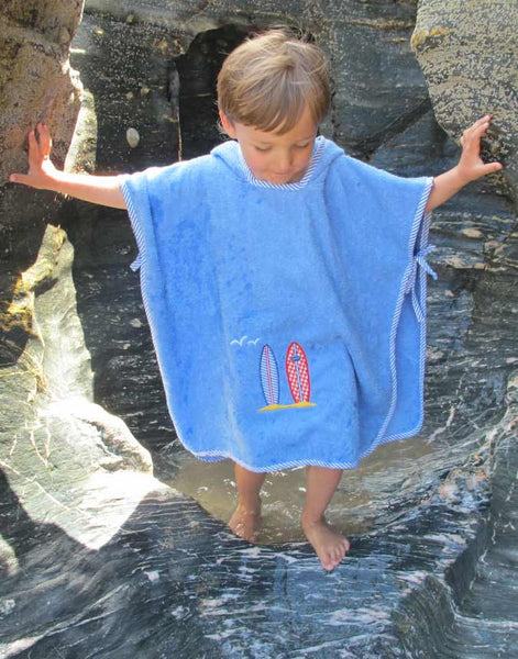 Ollypop Surf Kids Terry Towel Poncho - Surfboards Applique - Unisex