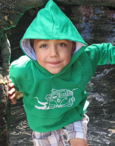 Kids Camper Van Surf Hoody Ollypop (Kelly Green)