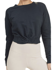 BLACK TWIST FRONT PULLOVER