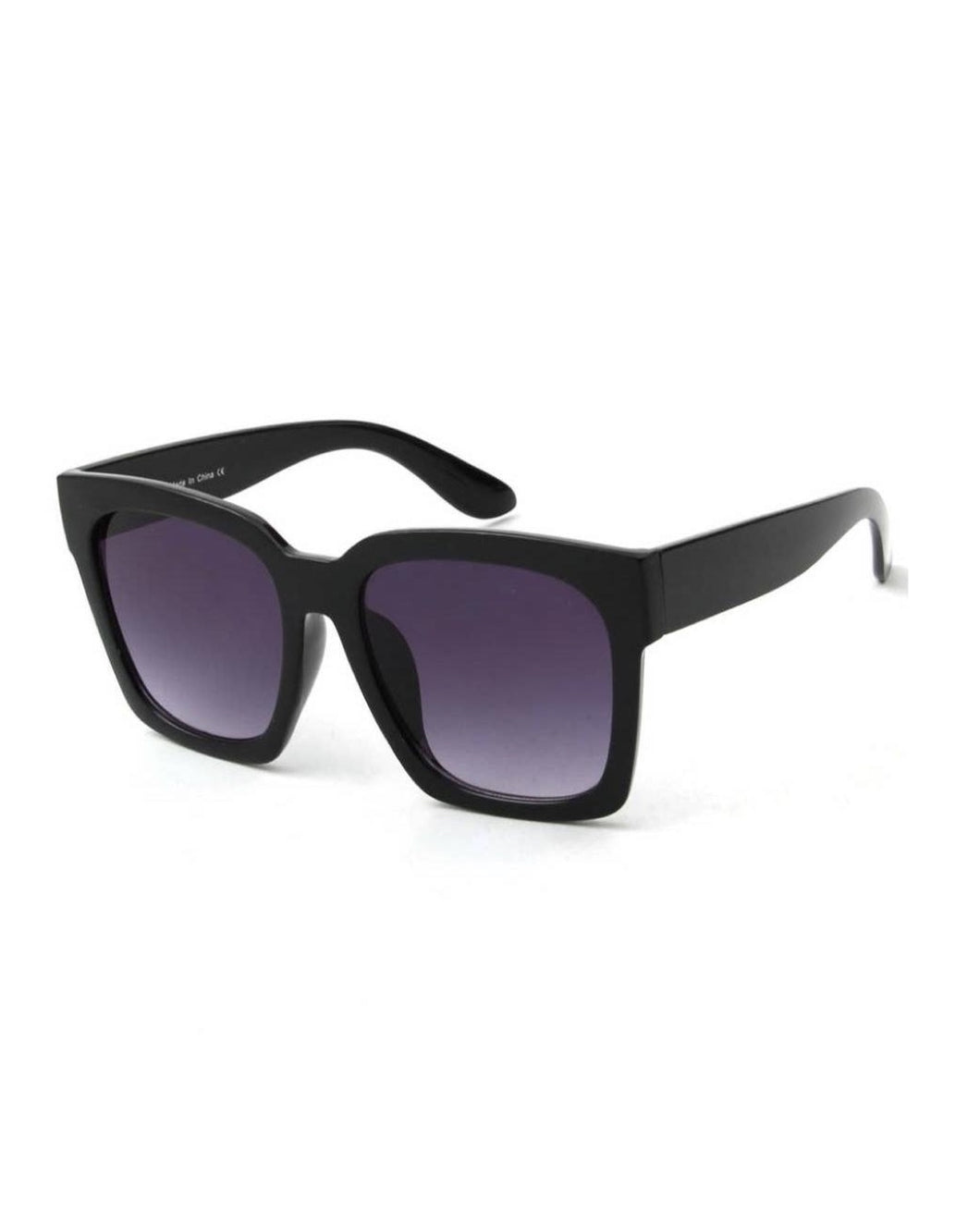 SQUARE OVERSIZED SUNGLASSES BLACK SMOKE