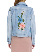 Load image into Gallery viewer, FLORAL EMBROIDERED DENIM JACKET
