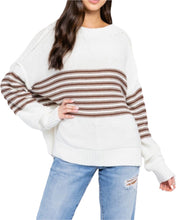 Load image into Gallery viewer, STRIPED DOLMAN SWEATER