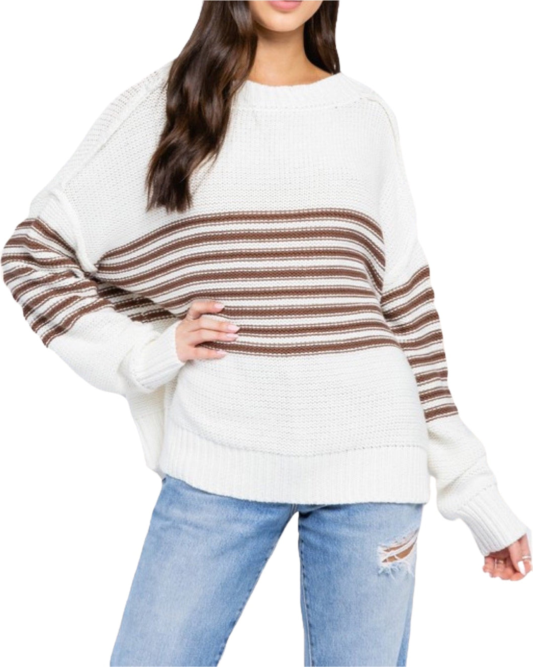STRIPED DOLMAN SWEATER