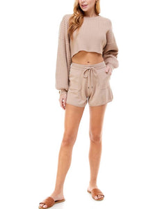 NUDE DRAWSTRING SHORTS
