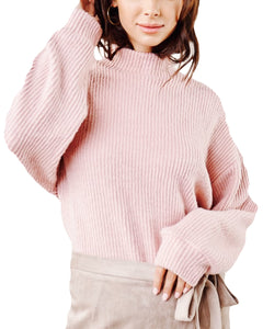 RIBBED BLUSH SWEATER