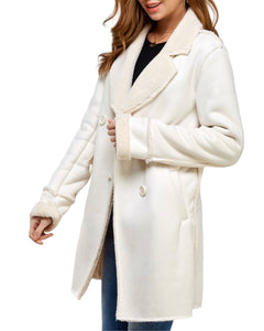 IVORY FAUX FUR & SUEDE COAT