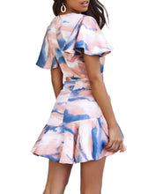 Load image into Gallery viewer, PEACH & NAVY MARBLE DRESS