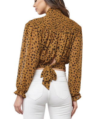 SPOTTED HIGH NECK BLOUSE
