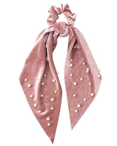 PEARL EMBELLISHED SCRUNCHIE SCARF