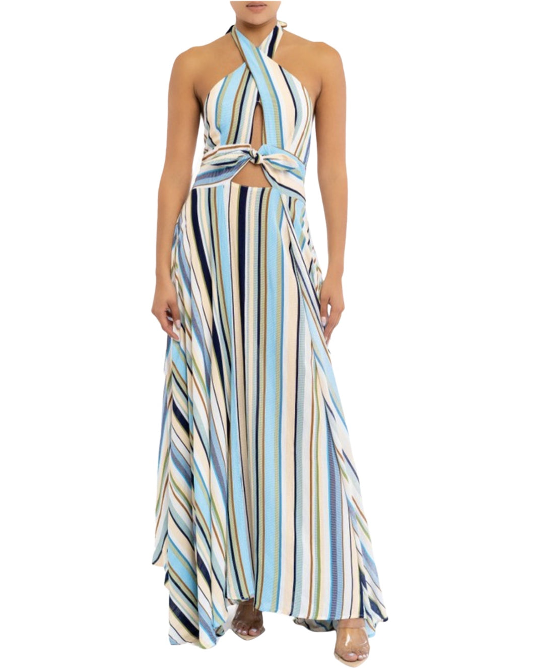 BLUE STRIPE HALTER DRESS
