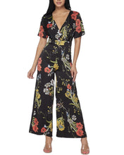 Load image into Gallery viewer, BLACK FLORAL JUMPSUIT