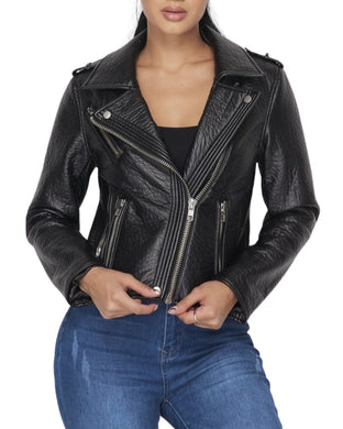 FAUX LEATHER BIKER JACKET BLACK