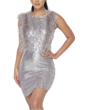 Load image into Gallery viewer, SILVER SEQUIN DRESS
