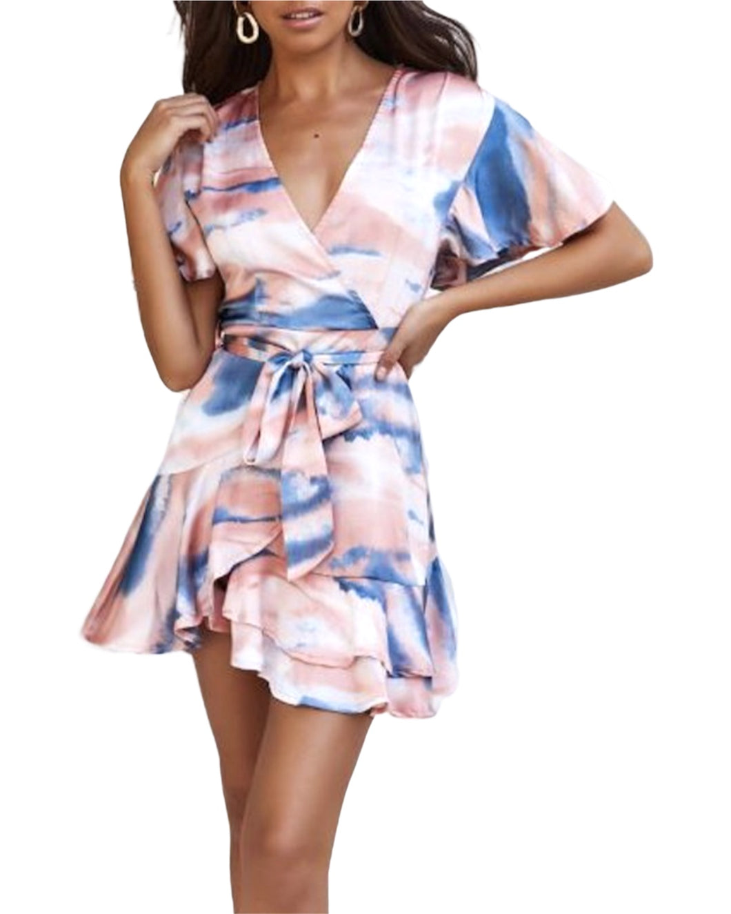 PEACH & NAVY MARBLE DRESS