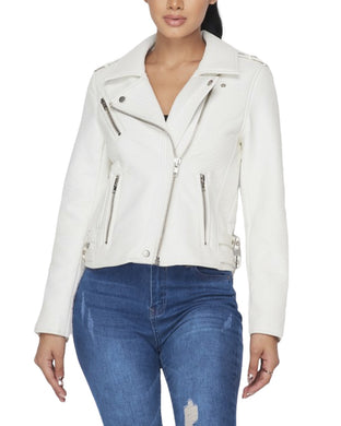 FAUX LEATHER BIKER JACKET WHITE