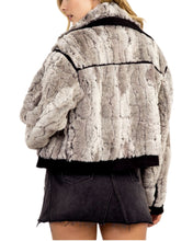 Load image into Gallery viewer, FAUX FUR MOTO JACKET