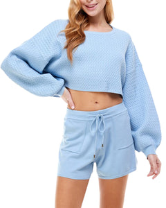 BLUE RELAXED PULLOVER