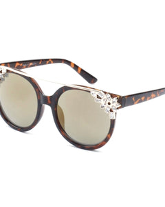 BROW BAR HORNED FLORAL RIM SUNGLASSES BROWN