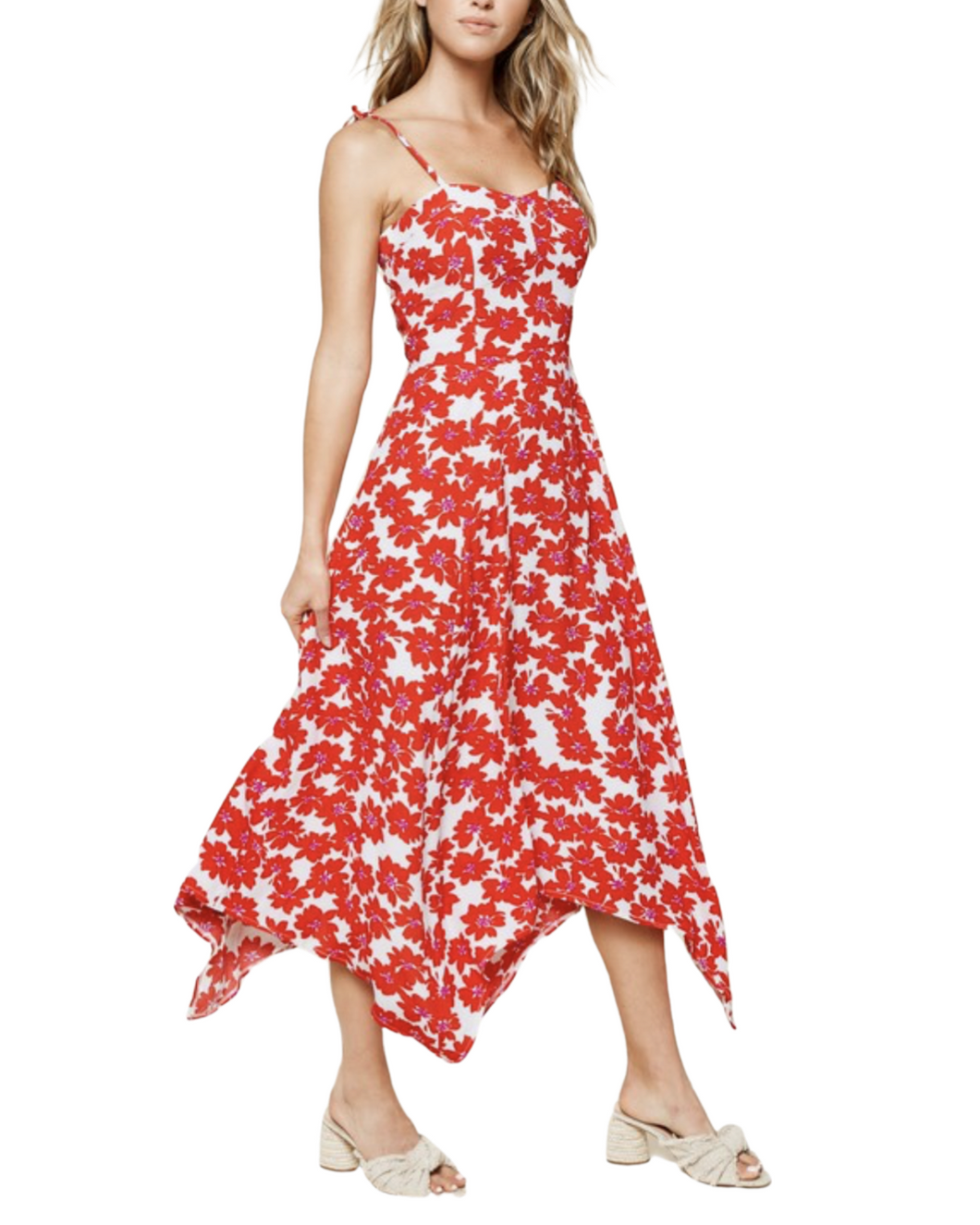 RED + WHITE FLORAL MAXI DRESS
