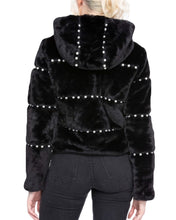Load image into Gallery viewer, BLACK FAUX FUR & PEARL HOODIE
