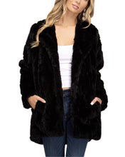 Load image into Gallery viewer, BLACK FAUX FUR COAT