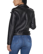 Load image into Gallery viewer, FAUX LEATHER BIKER JACKET BLACK