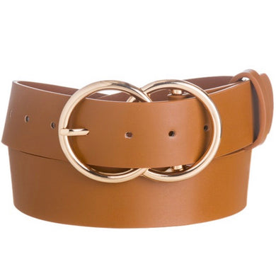 FAUX LEATHER DOUBLE-O BELT 4 COLORS