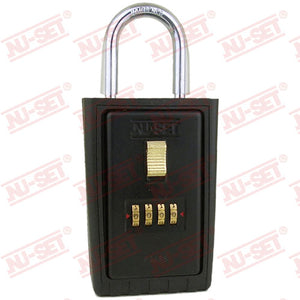 NuSet 4-Number Combination Lockbox, Keyed Shackle