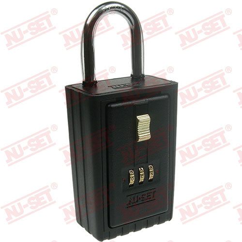 NuSet 3-Alpha Combination Lockbox, Keyed Shackle, Self Scramble
