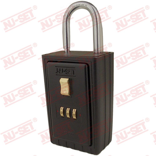 NuSet 3-Number Combination Lockbox, Keyed Shackle