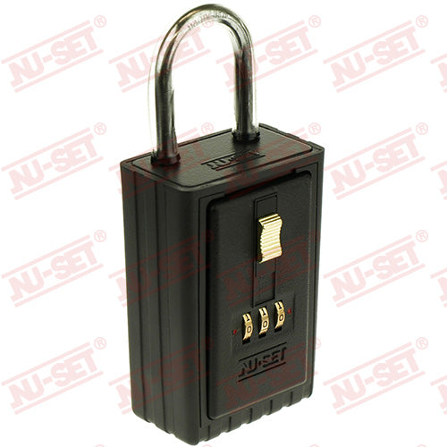 NuSet 3-Number Combination Lockbox, Keyed Shackle, Self Scramble