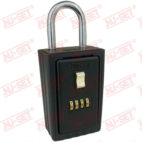 NuSet 4-Alpha Combination Lockbox, Keyed Shackle
