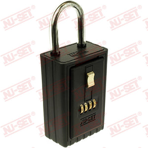 NuSet 4-Alpha Combination Lockbox, Keyed Shackle, Self Scramble