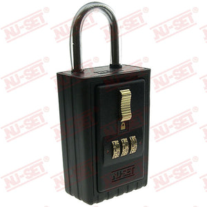 NuSet 3-Alpha Combination Lockbox, Keyed Shackle, A to Z Dials