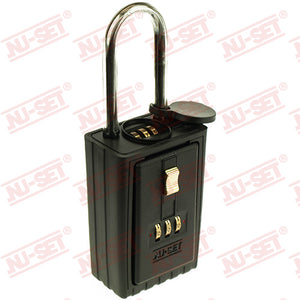 NuSet 3-Number Combination Lockbox, Combo Locking Shackle, Self Scramble