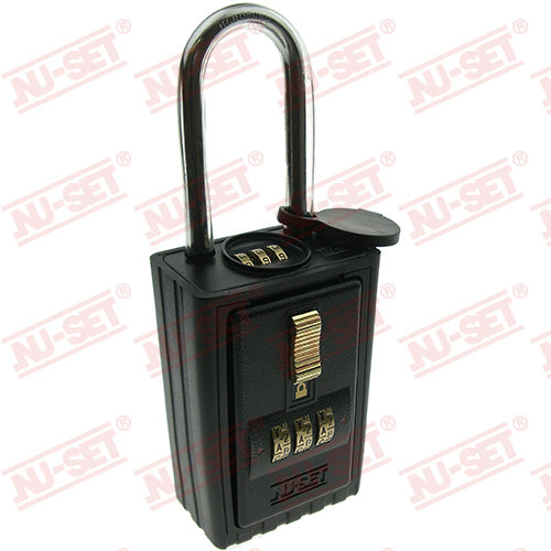 NuSet 3-Alpha Combination Lockbox, Combo Locking Shackle, A to Z Dials, Self Scramble