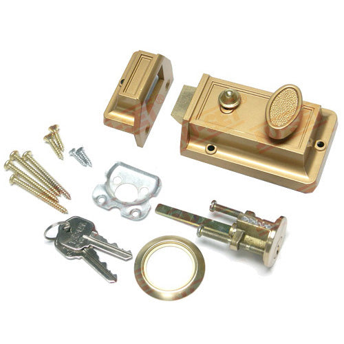 NuSet Kwikset Keyed Spring Night Latch, Holdback Button, Bronze