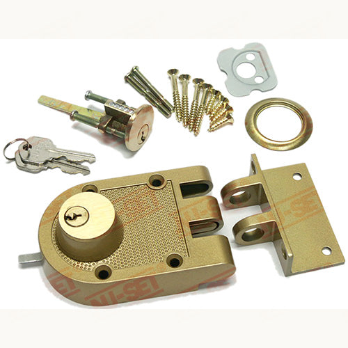 NuSet Kwikset Keyed Interlocking Deadbolt Lock, Jimmy Proof Style, Double Cylinder, Bronze