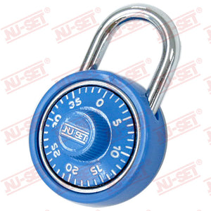 "NuSet 1-3/4"" 45mm Spin Dial Combination Padlock, Blue"