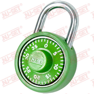 "NuSet 1-3/4"" 45mm Spin Dial Combination Padlock, Green"