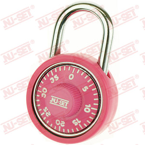 "NuSet 1-3/4"" 45mm Spin Dial Combination Padlock, Pink"