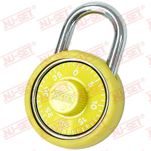 "NuSet 1-3/4"" 45mm Spin Dial Combination Padlock, Yellow"